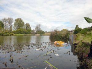 Chequer Lane Fishing Lake 3 - Low down shot showing rubbish